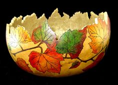 Autumn In the Vines Gourd Bowl by GourdsInCostume