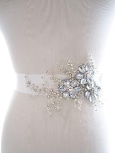 Amazing Rhinestone Beaded Lace Applique Bridal Sash, wedding sash, bridal belt, wedding belt | delicate beaded flower sash...