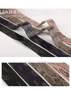 Faux Snake Skin Fabric Ribbon / 4 cm / 4 Color /Leather by HOLYCO