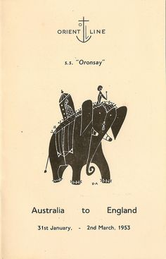Orient Line - SS Oronsay - Australia to England, January - March 1953, guide to Colombo