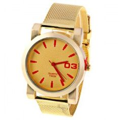 Men Quartz Watch 1 Arabic Numbers and Strips Indicate Round Dial Gold-plated Watchband - Red Strips Cheap Watches For Men, Sweet Style, Sammy Dress, Quartz Watch, Watch Bands, Gold Watch, Numbers, Gold Plating, Men's Watches