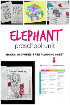 Elephant preschool unit: A week of ideas for an elephant theme, including books, crafts, and activities. #preschoolathome #elephantpreschool #preschooltheme Educational Activities For Toddlers, Activities For 2 Year Olds, Book Activities, Learning Resources, Preschool At Home, Preschool Themes, Preschool Lessons, Mo Willems, Elephant Theme