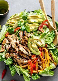 Mexikanischer Salat mit Hähnchen und Rezept für Fajita Marinade