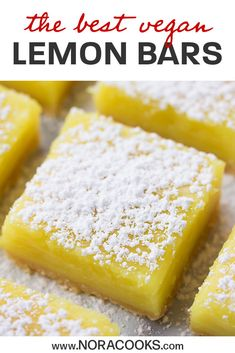 Vegan Lemon Bars with the most delicious shortbread crust and easy lemon curd filling! Vegan Lemon Desserts, Lemon Bars Healthy, Vegan Lemon Bars, Easy Lemon Curd, Whole Food Desserts, Lemon Dessert Recipes, Lemon Recipes, Delicious Vegan Recipes, Desert Recipes