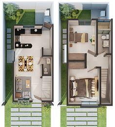 Minimal House Design, Modern Small House Design, Small House Exteriors, House Front Design, Tiny House Design, Little House Plans, 2bhk House Plan, Narrow House Plans, Modern House Floor Plans