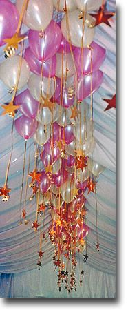 Balloon Decorations-i like the hanging stars attached to the balloons