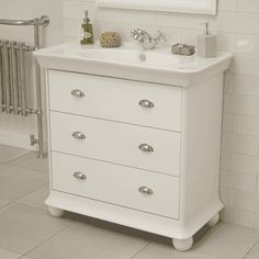 The Valencia White 3 Drawer Basin Unit is a beautifully designed traditional vanity unit. The three drawers offer plenty of storage space and the large basin makes it perfect for everyday cleaning. Other Valencia White furniture is also available. White Vanity Unit, Basin Vanity Unit, Basin Unit, Cabinet Furniture, White Furniture, Bathroom Furniture, Bathroom Ideas, Small Bathroom Storage, Storage Spaces