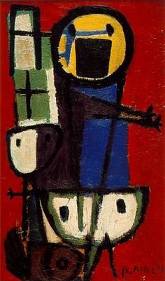 """Vragende kinderen"" (""Questioning Children""; 1949), by Karel Appel. Oil on canvas; Stedelijk Museum, Amsterdam; Cobra. There are several versions of this theme and title. Work originally referred to as ""de twistappel""."