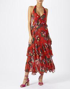 Sandy Tropical Halter Midi Dress