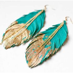 Teal & gold | feather earrings