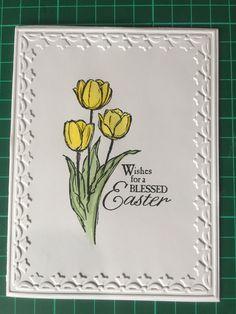 Easter card, using: blessed Easter, watercolours, tulip frame embossing folder