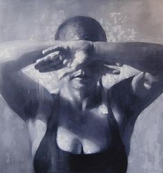 """""""Swimmer"""" - Alan McGowan (English, b. 1964), oil on canvas, 2002 {figurative art female décolletage swimsuit woman arms cropped monochromatic painting} alanmcgowan.com"""