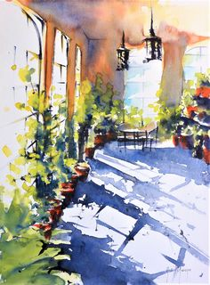 aquarelle, watercolor by Didier GEORGES Watercolor Architecture, Watercolor Landscape, Abstract Watercolor, Watercolour Painting, Landscape Art, Simple Watercolor, Watercolors, Watercolor Sketch, Watercolor Artists