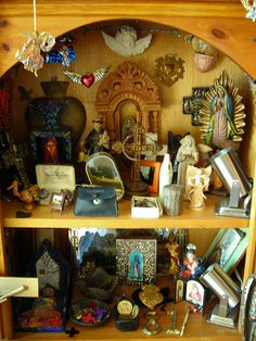 love the idea of using a deep set of shelves for a multi-level altar.I love the idea of using a deep set of shelves for a multi-level altar. Pagan Altar, Wiccan, Magick, Personal Altar, Meditation Altar, Home Altar, Collage, Religious Art, Altered Art