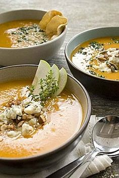 Classic Butternut Squash Soup // Fall-weather comfort food is the best! Sprinkle a little goat cheese and some pumpkin seeds on top for a garnish.