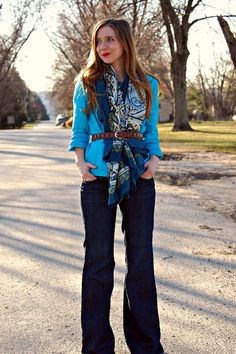 Belted scarf + monochromatic blues