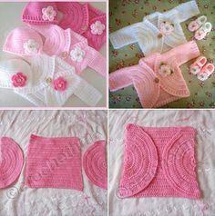 Simple Baby Bolero Making - lasteriided Knitting Baby Girl, Baby Girl Crochet, Crochet For Kids, Crochet Baby Sweaters, Crochet Baby Clothes, Baby Girl Patterns, Baby Knitting Patterns, Crochet Pattern, Baby Bolero