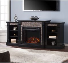 Electric Fireplace Bookcases Black Faux Stone Traditional Wood Finish Adjustable #HarperBlvd #Fireplace #Bookcase #ElectricFireplace #Furniture
