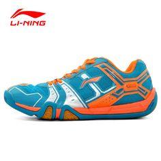 Li-Ning Men's Portable Wear-Resisting Badminton Shoes Li Ning Anti-Slippery Damping Lace-Up Outdoor Sports Sneakers AYTM085