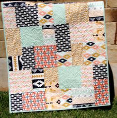 Tribal Baby Quilt Modern Girl Bedding by SunnysideDesigns2 on Etsy