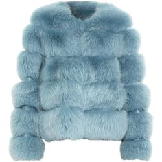 The Row Kuffley Jacket - Bright Blue size 8 (11,520 CAD) ❤ liked on Polyvore featuring outerwear, jackets, coats, fur, clothing & accessories, women, blue fur jacket, fur jacket and blue jackets