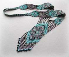 Ethnic Style Long Beaded Necklace Turquoise and by Anabel27shop