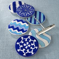 W8225 Handmade Jaipur Coasters - Sea Blue
