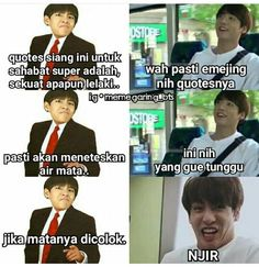 ideas for memes kpop bts indonesia Memes Funny Faces, Funny Texts, Funny Jokes, Hilarious, Club Penguin, Got7 Jackson, Memes Shrek, Bts Meme, Super Memes