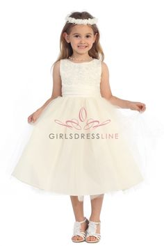 Ivory Lace Accented Satin Top and Tulle Overlaid Flower Girl Dress KC-D1217-IV2 on www.GirlsDressLine.Com