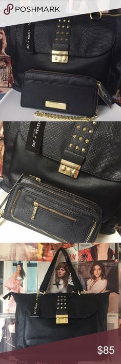 Olivia + Joy | Bernadette Tote Such cool luxury! I ❤️❤️❤️ Olivia + Joy! With this black Bernadette Tote with embossed croc and gold hardware you can carry all you need for your busy day! Pair it with the Mai Collection wallet/wristlet (also listed) and you've got a wonderful day to night combo! Outside studded flap pocket, interior zip and slide pockets. NWT. Olivia + Joy Bags Totes