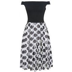 Polka Dot Off Shoulder  Patchwork  Midi Skater Dress (42 AUD) ❤ liked on Polyvore featuring dresses, flared dresses, off the shoulder short dress, midi flare dress, short dresses and short flare dress