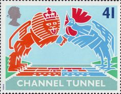 Opening of Channel Tunnel 41p Stamp (1994) British Lion and French Cokerel over Tunnel