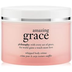 Philosophy Amazing Grace Whipped Body Cream-8 oz. (250 EGP) ❤ liked on Polyvore featuring beauty products, bath & body products, body moisturizers, fillers, beauty, makeup, pink fillers and body moisturizer