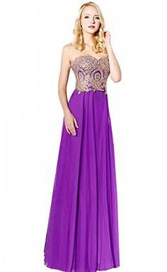 b0ad7945c0c VIVI Bridal Women s Bridesmaid Dresses Long Gold Lace Chi... http