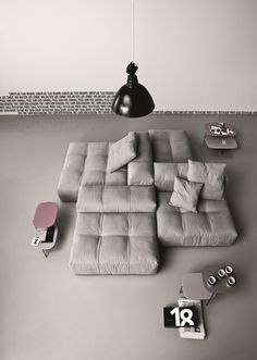 Modular Upholstered Sofa Pixel by Saba Italia. Grey. Abstract. Design. Modern. Contemporary. Furniture.
