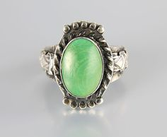 Totem Pole Navajo Sterling silver Ring Green by RMSjewels on Etsy