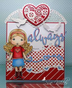 From our Design Team! Card by Suzanne Kohler featuring NEW Love You Molli and these NEW Dies - Love Always , Love Doves, Lacy Heart, Lacy Hearts Border, Hearts Flurry Border, Gears Heart.  Older Dies: Stitched Nested Hearts :-) Shop for our NEW products here - lalalandcrafts.com Coloring details and more Design Team inspiration here - http://lalalandcrafts.blogspot.ie/2016/11/november-2016-new-release-showcase-day-3.html
