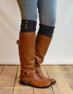 LouLou - Graphite: Open-work Leg Warmers w/ antique gold metal buttons - Legwarmers boot socks ~ CUTE!