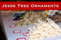 Jesse Tree Ornaments: this blogger did an ornament exchange with several families, each making a certain number of specific day's ornaments. i love their choices! might do this when little one's old enough to help craft them