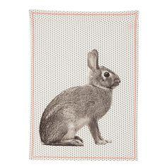 Torchon 100% coton couture fluo motifs animaliers 55x65cm Sauvage