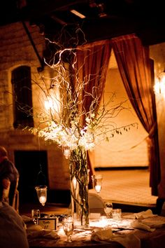 Hanging candles curly willow wedding centerpiece