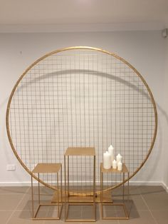 Gold grid circle for hire from Allure Events. Can attach logo and flowers. Gold grid circle for hire Wedding Stage Decorations, Balloon Decorations, Birthday Decorations, Decoration Buffet, Deco Champetre, Backdrop Design, Backdrop Stand, Partys, Event Decor
