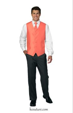 Men's deluxe satin vest and tie in coral - kcouture.com