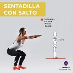 Sentadilla con salto. Con este ejercicio haces cardio mientras trabajas glúteos y muslos.