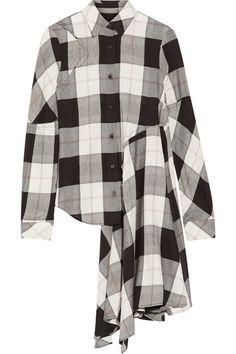 MM6 Maison Margiela | Asymmetric checked twill shirt | NET-A-PORTER.COM