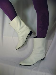 I believe these were the exact ones I had.  I loved them.  Thought I was so cool.  Vintage 1960's mod white leather go-go boots by Vegas Laveau Vintage, via Flickr