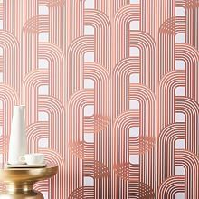 With its classic art-deco style, our Drop It MODERN Raceway wallpaper adds a glam touch to your space. Simple to install and easy to remove, this removable wallpaper is perfect for renters and serial redecorators. Geo Wallpaper, Mirrored Wallpaper, Temporary Wallpaper, Prepasted Wallpaper, Peel And Stick Wallpaper, Bathroom Wallpaper, Midcentury Wallpaper, Removable Wallpaper For Renters, Wallpaper For Home Wall