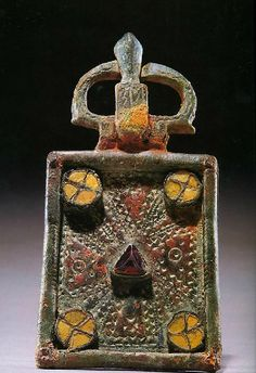 Visigothic Bronze Belt Buckle with Glass and Red Stone  PERIOD  6th century AD