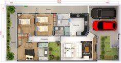 Casa com pé direito alto e área de luz. Planta para terreno 10x20