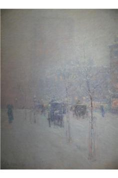 New York, Late Afternoon, Winter, Childe Hassam Size: cm Painting Snow, Love Painting, Painting & Drawing, American Impressionism, Impressionist, Starry Night Art, Art Database, Art For Art Sake, Famous Artists